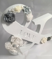 Wooden painted & LOVE wedding piece